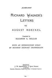 Cover of: Richard Wagner's letters to August Roeckel