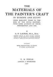 Cover of: The materials of the painter's craft in Europe and Egypt