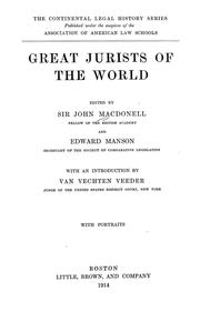 Cover of: Great jurists of the world