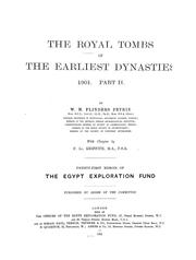 Cover of: The royal tombs of the first dynasty, 1900-1901