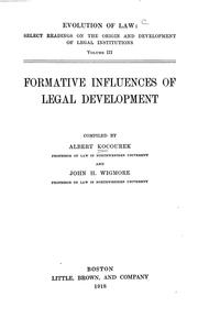 Formative influences of legal development by Kocourek, Albert