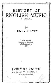 Cover of: History of English music