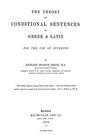 Cover of: The theory of conditional sentences in Greek & Latin