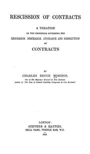 Cover of: Rescission of contracts | Charles Bruce Morison