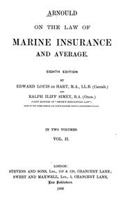 Arnould on the law of marine insurance and average by Arnould, Joseph Sir