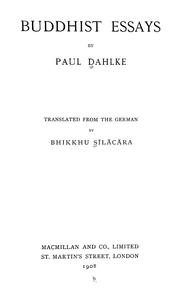 Cover of: Buddhist essays | Paul Dahlke