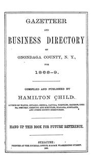 Cover of: Gazetteer and business directory of Onondaga County, N. Y., for 1868-9