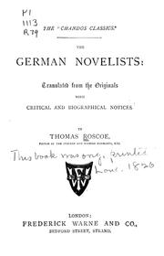 The German novelists by Thomas Roscoe
