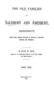 Cover of: The old families of Salisbury and Amesbury, Massachusetts by David Webster Hoyt
