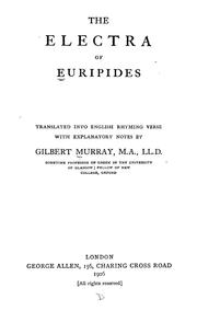 Cover of: The Electra of Euripides