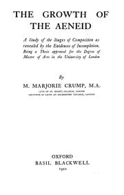 Cover of: The growth of the Aeneid | Mary Marjorie Crump