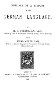 Cover of: Outlines of a history of the German language