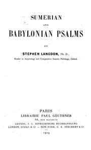 Cover of: Sumerian and Babylonian psalms | Stephen Langdon