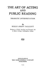 Cover of: The art of acting and public reading