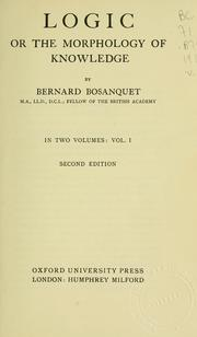 Cover of: Logic | Bernard Bosanquet