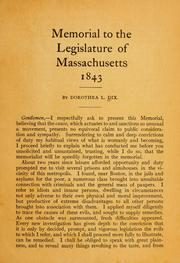 Memorial to the legislature of Massachusetts, 1843.