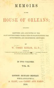 Cover of: Memoirs of the House of Orleans | Taylor, W. C.
