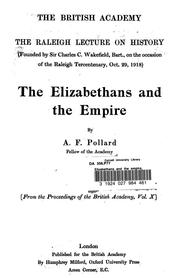Cover of: The Elizabethans and the empire