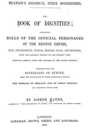 Cover of: The book of dignities by Joseph Timothy Haydn