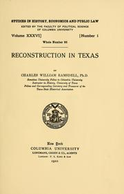 Cover of: Reconstruction in Texas | Charles W. Ramsdell