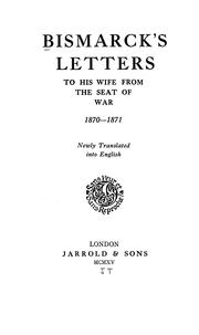 Cover of: Bismarck's letters to his wife