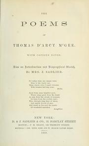Cover of: The poems of Thomas D'Arcy McGee