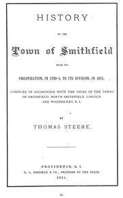 Cover of: History of the town of Smithfield