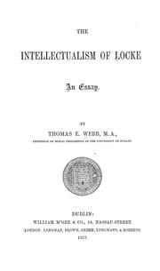 Cover of: The intellectualismof Locke
