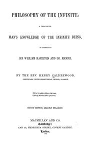 Philosophy of the infinite by Calderwood, Henry