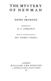 Cover of: mystery of Newman | Henri Bremond