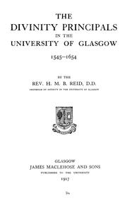 Cover of: The divinity principals in the University of Glasgow by Reid, Henry Martyn Beckwith