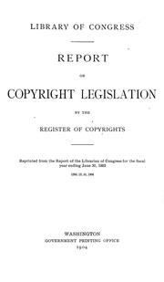 Cover of: Report on copyright legislation | Library of Congress. Copyright Office.