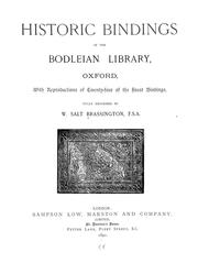 Cover of: Historic bindings in the Bodleian library, Oxford | W[illiam] Salt Brassington