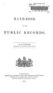 Cover of: Hand-book to the public records