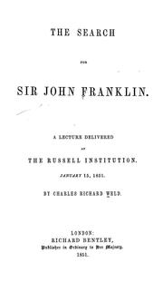 Cover of: The search for Sir John Franklin
