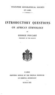 Cover of: Introductory questions on African ethnology | George Foucart