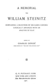Cover of: A memorial to William Steinitz