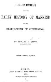 Cover of: Researches into the early history of mankind and the development of civilization