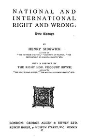 Cover of: National and international right and wrong: two essays