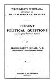 Cover of: Present political questions