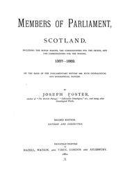 Cover of: Members of Parliament, Scotland