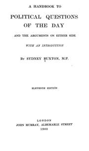 Cover of: handbook to political questions of the day | Sydney Buxton