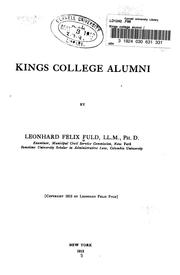 Cover of: Kings college alumni