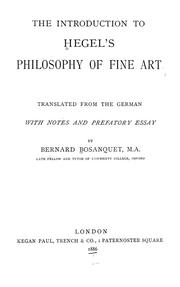 Cover of: The introduction to Hegel's Philosophy of fine art