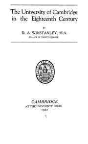 Cover of: The University of Cambridge in the eighteenth century | D. A. Winstanley