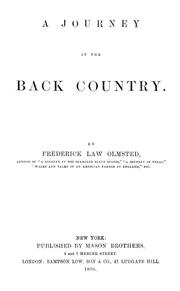 Cover of: A journey in the back country