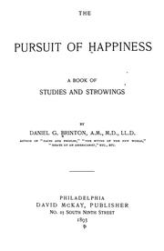 Cover of: The pursuit of happiness. | Daniel Garrison Brinton