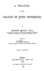 Cover of: A treatise on the calculus of finite differences | George Boole