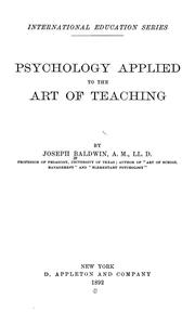 Cover of: Psychology Applied to the Art of Teaching