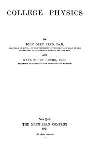 Cover of: College physics | John Oren Reed